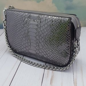 Michael Kors Crocodile Embossed Pewter Pouchette